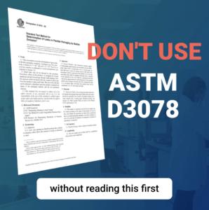 ASTM D3078 leak test